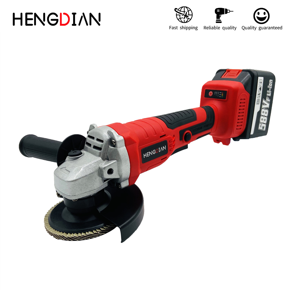 HENGDIAN 21V 125mm Cordless Angle Grinder Lithium-Ion Grinding Machine Brushless Electric Angle Grinder Power Tools