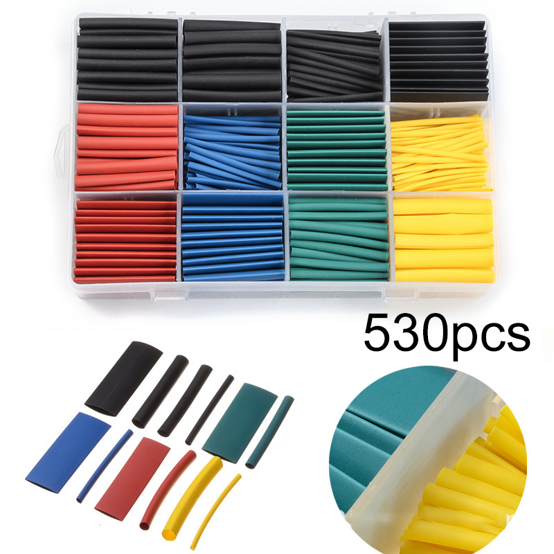 530pcs/Set Heat Shrink Tubing Kit Electrical Insulation Shrinking Assorted Heat Shrink Tubing Cable Sleeve 5 Colors