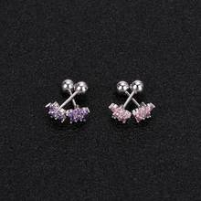 maxgoods 1 piece 6mm Length Lip Ring Labret Earring Nail Bone Barbell Zircon Rose Flower Helix Tragus Ear Piercing Body Jewelry(China)