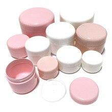 30 adet 10g/20g/30g/50g/100g boş makyaj kavanoz Pot doldurulabilir örnek şişeleri seyahat yüz kremi losyon kozmetik konteyner beyaz