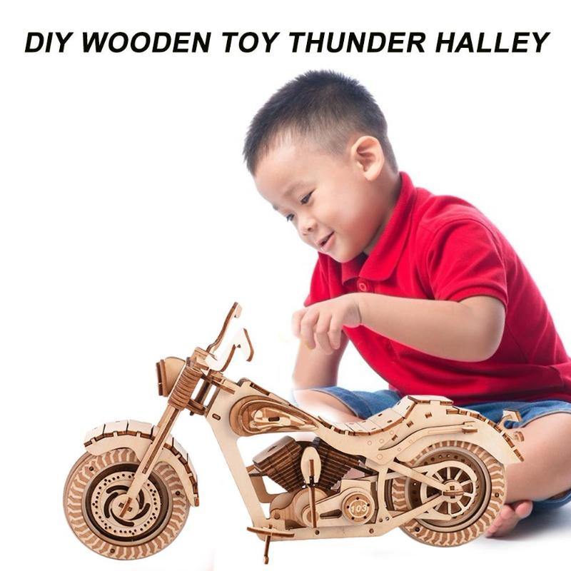 Wooden Puzzle Basswood High-precision Laser Cutting Craft 3D Motorcycle Model Kids DIY Laser Cutting Game Assembly Toys Gift