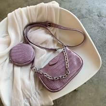2 PCC/SET Retro Krokodil Muster Kleine PU Leder Schulter Taschen Für Frauen 2020 Handtaschen Weibliche runde Taschen Reise crossbody-tasche
