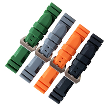 HQ 24mm Silicone Rubber Watch Band for PAM Radiomir Stainless Steel Buckle Waterproof Watchband Wrist Strap цена 2017