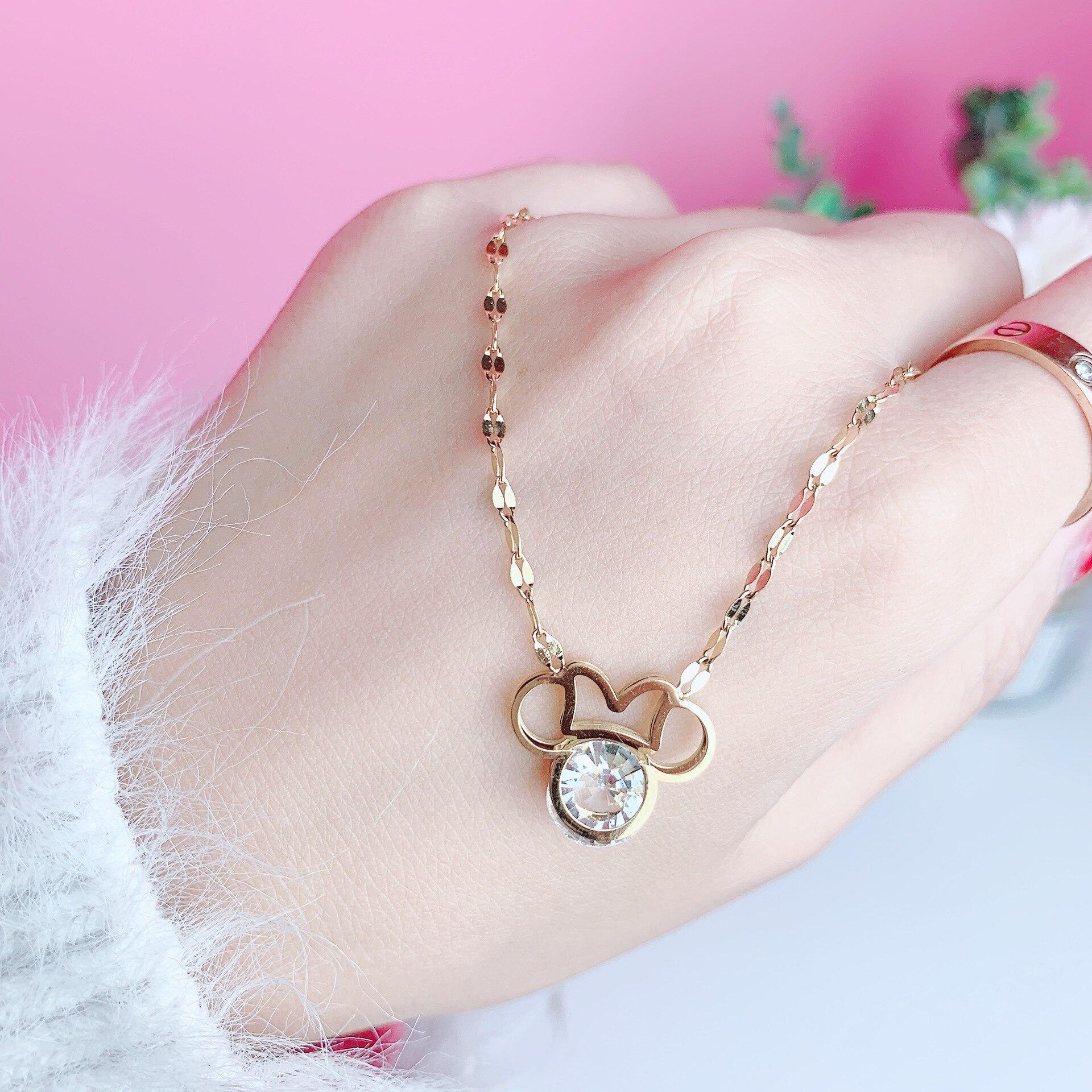 Disney Cartoon Diamond Mickey Head Pendant Jewelry Exquisite And Cute Wild Titanium Steel Necklace Female Wild Jewelry