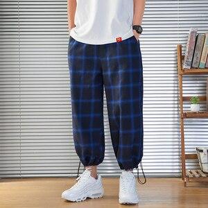 Image 5 - 2020 新メンズスウェットパンツ男性のパンツチェック柄ストリートジョギング男性コットン混紡ヒップホップランナーズボンドロップ無料 ABZ216