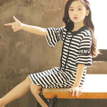 1pcs Kids Dress Children Striped Short Sleeve Hooded for Girls Clothing Cute Outfits Clothes Supplies