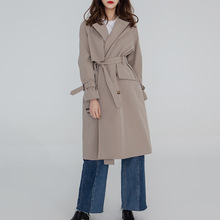 Women Fashion Trench Coat Vintage Sashes Oversize Khaki Coats Casual Autumn Windbreaker Outerwear Overcoat Streetwear