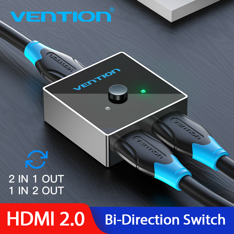 Vention HDMI Splitter 4K 2.0 HDMI Switch Bi-Direction 1x2/2x1 Adapter HDMI 2.0 Switch 2 in 1 out for PS4/3 TV Box HDMI Switcher(China)