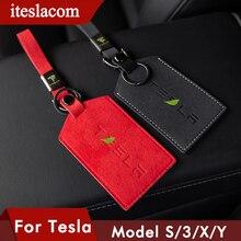 Чехол из 2021 натуральной кожи для автомобильных ключей и карт, чехол для Tesla Model 3 Y S X, защитный чехол-кошелек для ключей с ремешком на руку