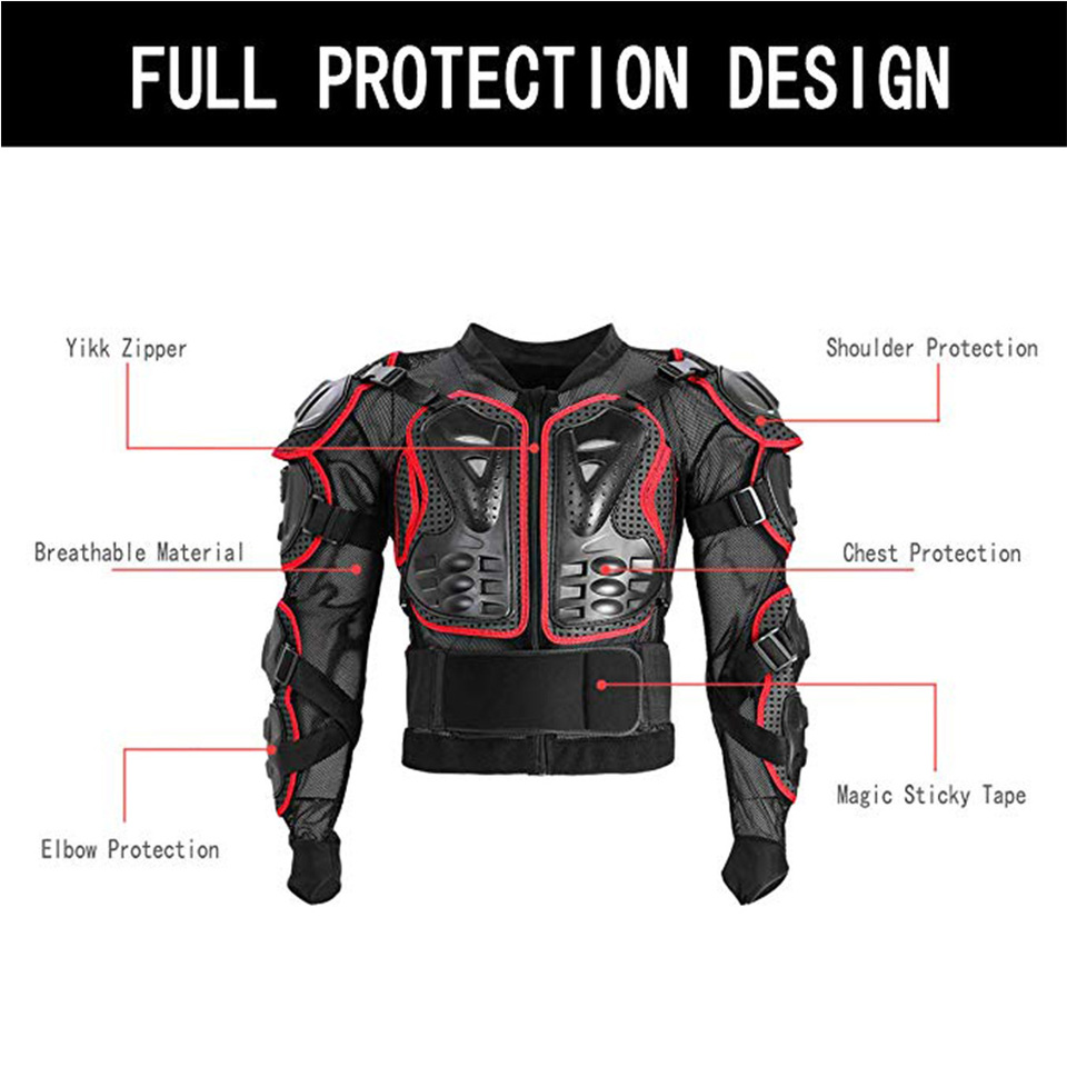 Motocross Motorcycle Body Armour Spine Chest Protector Racing Jacket Guards