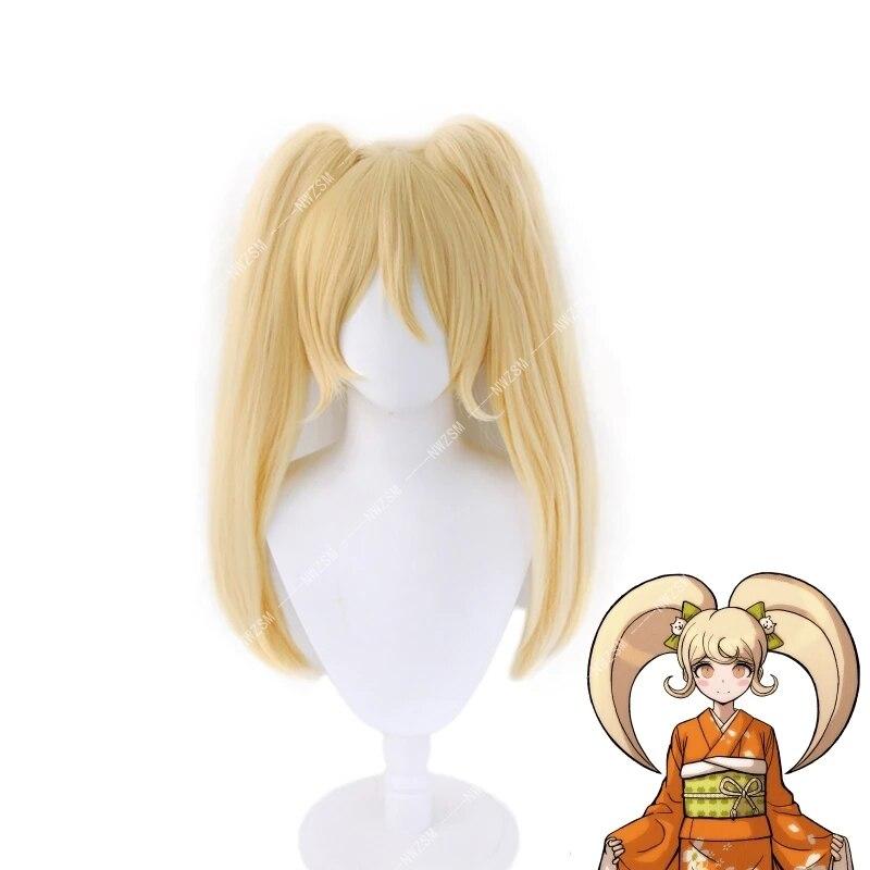 Danganronpa Cosplay Saionji Hiyoko Wig Women Detachable Ponytails Hairpiece Blonde Heat Resistant Hair Wigs Hiyoko Saionji
