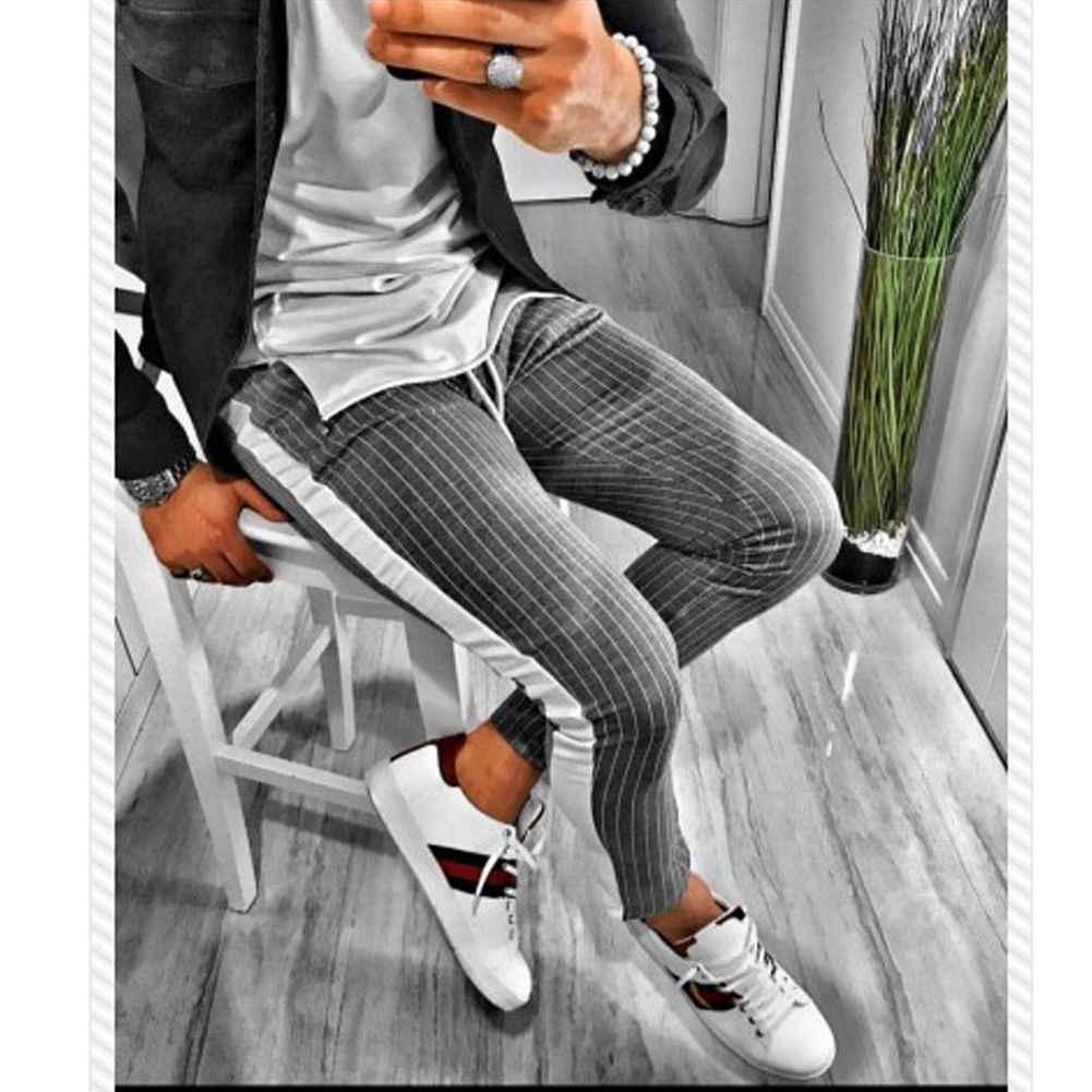 2019新ファッションの男性スリムフィットズボンストライプ鉛筆パンツトラックスーツボトム男性スタイリッシュなストライプスキニージョギング長ズボン