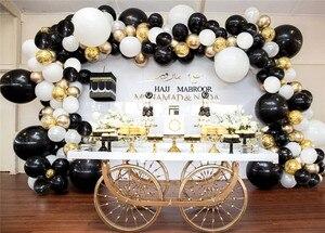 Image 5 - Guirnalda de globos de látex blanco y negro para fiesta de boda decoración de fondo, arco, Chico, metal, dorado, suministros de baño para bebé, 101 Uds.