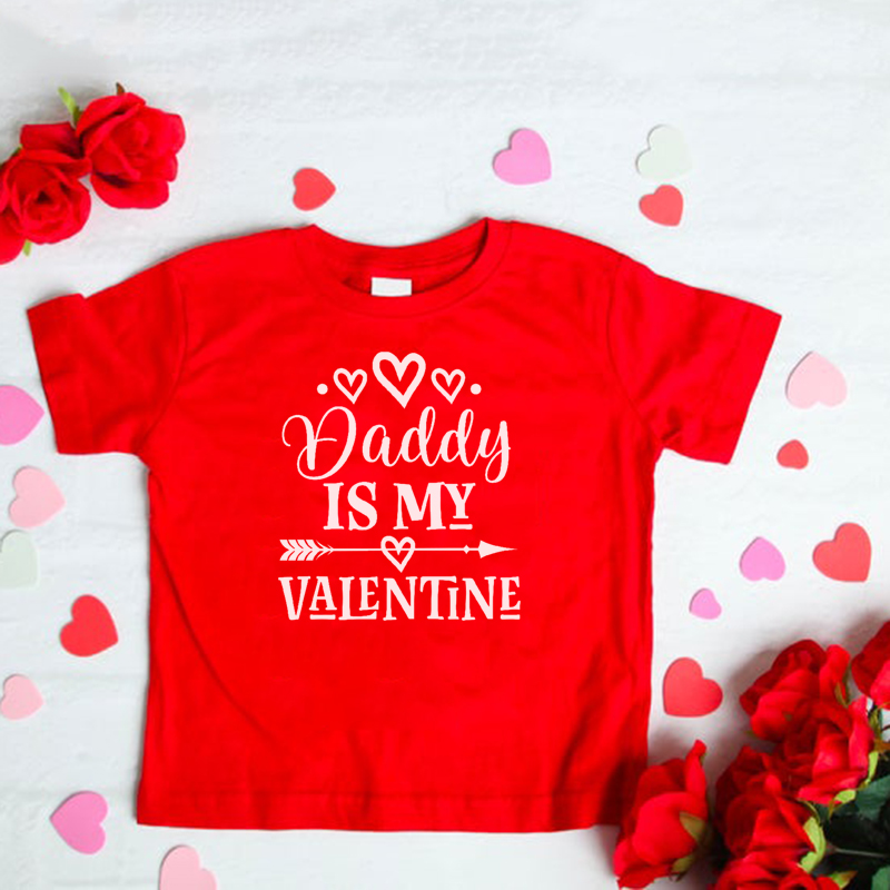 Valentine's Day Kids Girls Fashion Tshirt Daddy Is My Valentine Funny Short Sleeve Toddler Girl T-shirt Tops Cute Party Wear