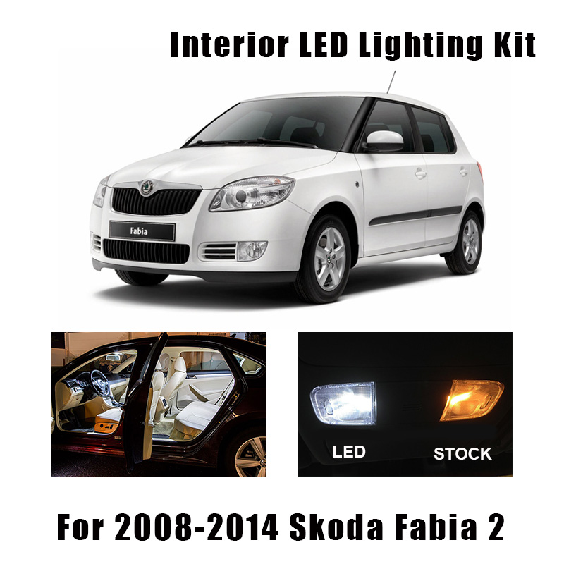 16pcs White Canbus Car LED Interior Light Kit Reading Bulbs Fit For 2008-2014 Skoda Fabia 2 MK2 MK II Map Dome Cargo Door Lamp