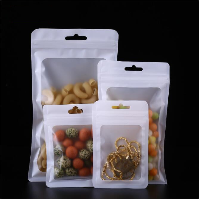 10pcs lot White matte ziplock bag Small Mini Plastic Zip Lock Bag With Window Jewelry Packaging Food Storage Pouch in Storage Bags from Home Garden
