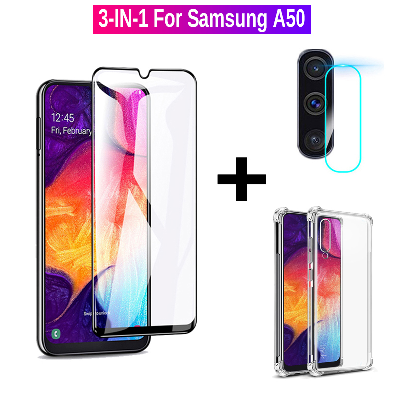 3-IN-1 Camera Protective <font><b>Glass</b></font> For <font><b>Samsung</b></font> A50 Shockproof Case & Tempered <font><b>Glass</b></font> For <font><b>Samsung</b></font> Galaxy A50 <font><b>A</b></font> <font><b>50</b></font> SM A505F DS Film 9H image