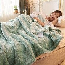 Зеленые флисовые одеяла и одеяла для взрослых толстые теплые зимние Одеяла Домашние супер мягкие одеяла Роскошные однотонные одеяла на двуспальный набор постельного белья