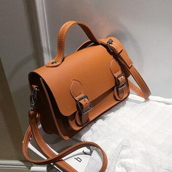 Vintage Messenger Bags For Women 2020 Brand Brown Leather Laptop Briefcase Shoulder Crossbody Ladies Travel Handbags Purses