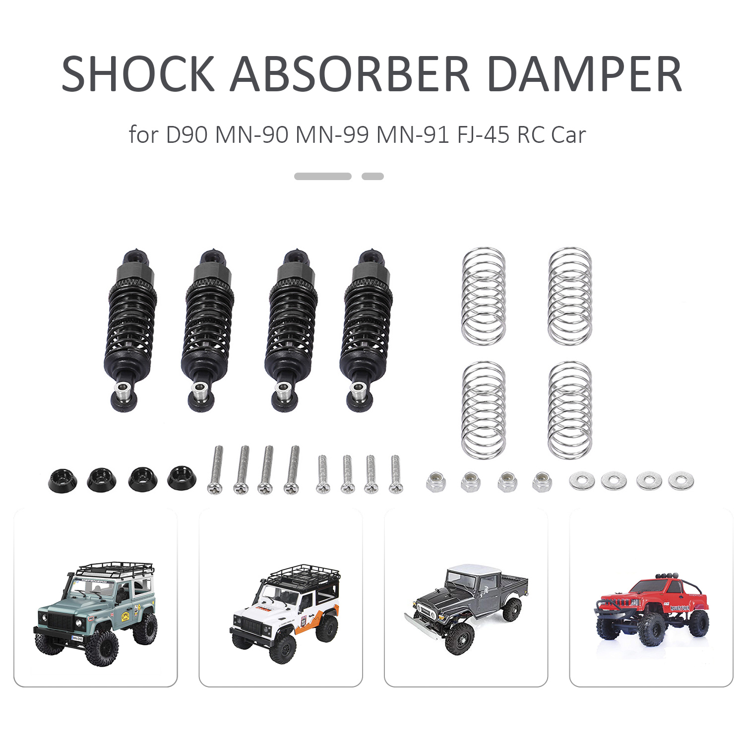Image 2 - Aluminum Alloy Shock Absorber Damper for D90 MN 90 MN 99 MN 91 FJ 45 RC Car 1/12 Rock Crawler Upgrade PartsParts & Accessories   -