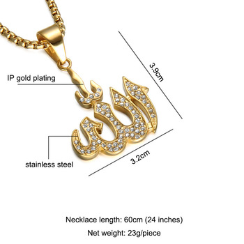 REN007 Gold electroplated titanium steel CZ pave Islamic symbol necklace Middle East flame necklace Muslim religious jewelry