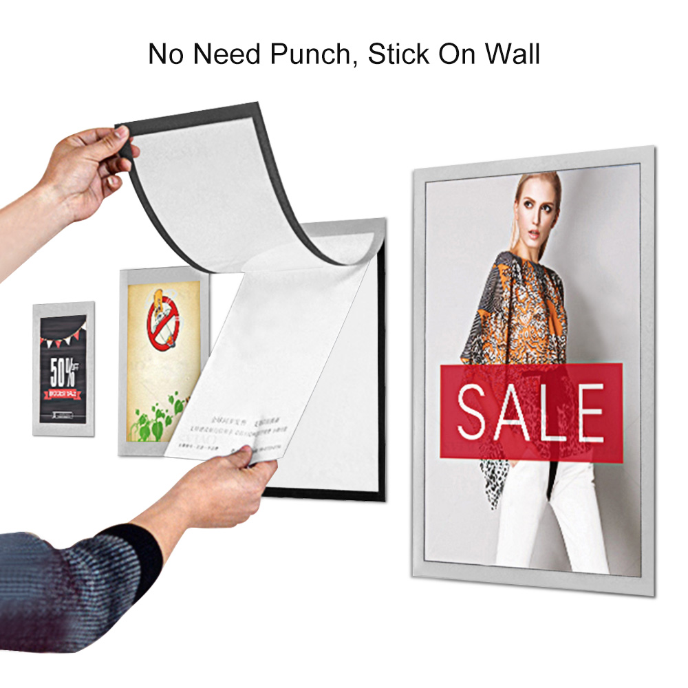 Sviao Small A6 Size PVC Magnetic Frame Wall Mounted Adhesive Plastic Picture Poster Holder Document Display Frame