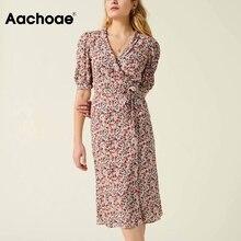 A-Line Dresses Puff-Sleeve Aachoae Elegant Lady Bandage Floral-Print Summer V-Neck Vintage