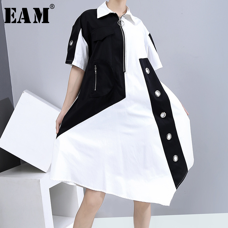 [EAM] Women Contrast Color Irregular Big Size Shirt Dress New Lapel Short Sleeve Loose Fit Fashion Spring Summer 2020 1U647