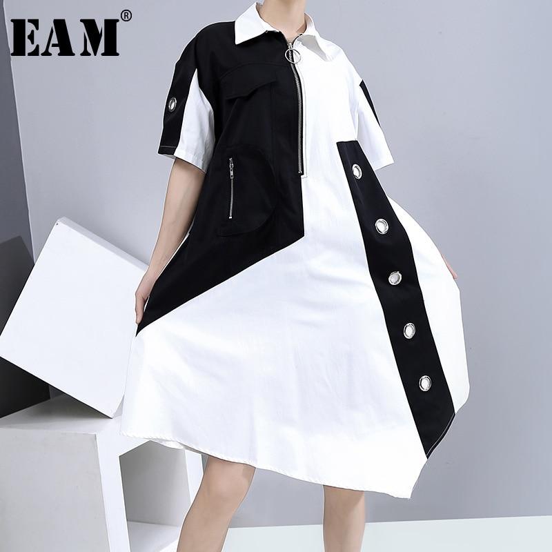 [EAM] Women Contrast Color Irregular Big Size Shirt Dress New Lapel Short Sleeve Loose Fit Fashion Spring Summer 2020 1U647