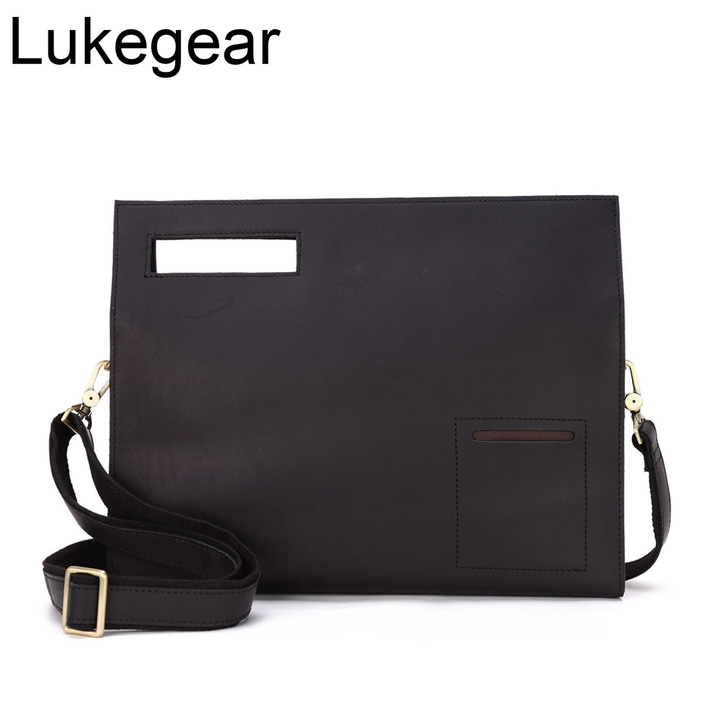 Lukegear Crazy Horse Genuine Leather Briefcase Mens Laptop Messenger Bags Retro Vintage Computer Packs 2020 Fashion