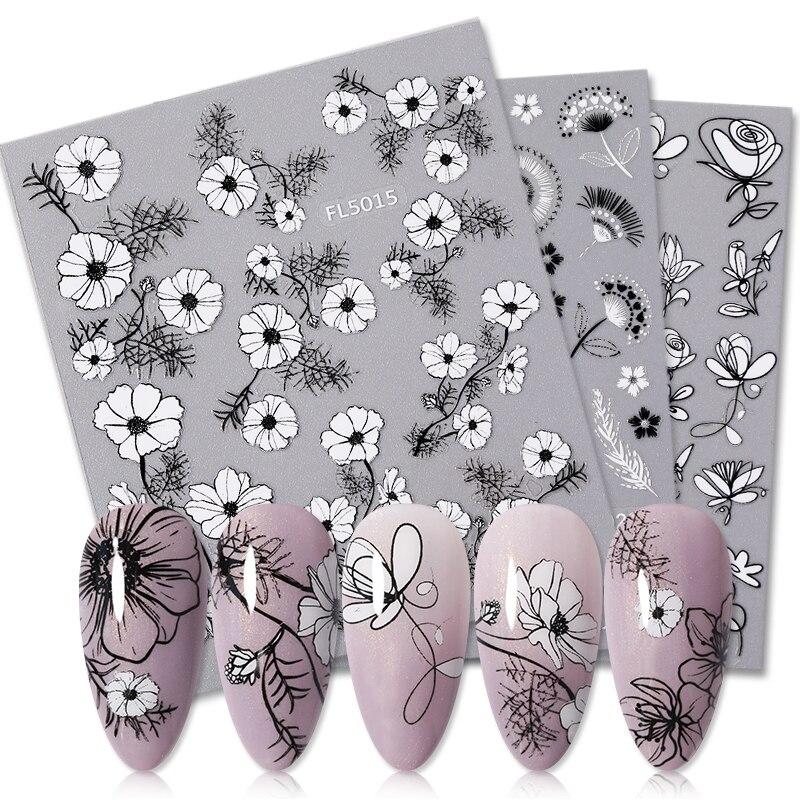 1 лист 3D наклейки для ногтей с узорами в виде листьев черного и белого цветов, дизайн ногтей наклейки для лета, деколь декорации, сделай сам
