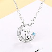 Изящное ожерелье Jisensp в виде Луны, звезды, Маленького принца, Чокеры для женщин и девушек, простые циркониевые ожерелья, подвески, женское ко...