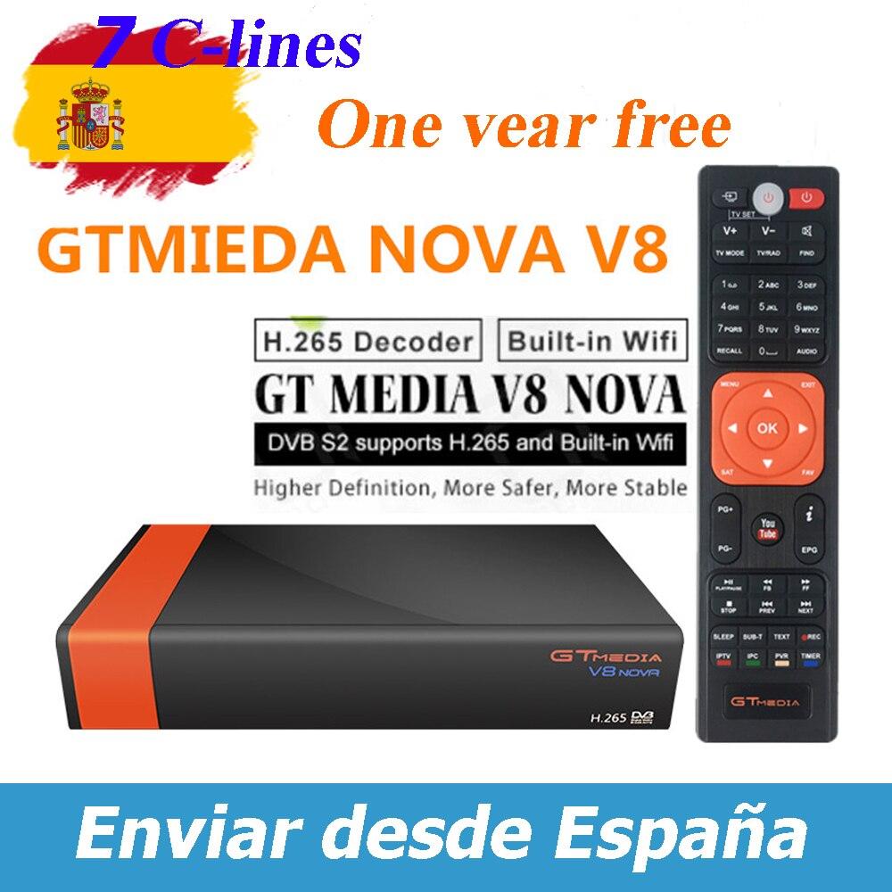 GTMedia V8 Nova DVB-S2 Satellite Receiver Bulit In Wifi 1 Year Europe Spain 7 Lines Upgrade From Freesat V8 Super TV Receptor