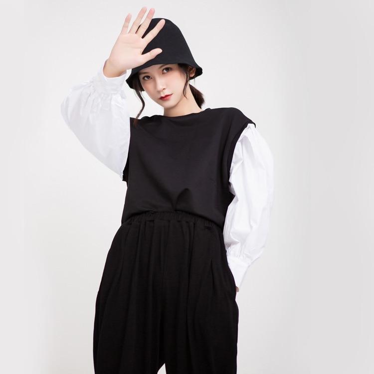 TVVOVVIN 2019 automne vêtements femme blanc lanterne chemise à manches longues Patchwork col rond pull à capuche femme L069 - 6
