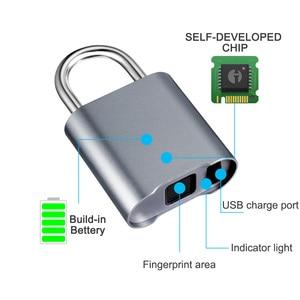 Image 2 - Smart Fingerprint Bluetooth Rechargeable Keyless Padlock Unlock Waterproof Home Security APP Shared Door Lock for IOS Android
