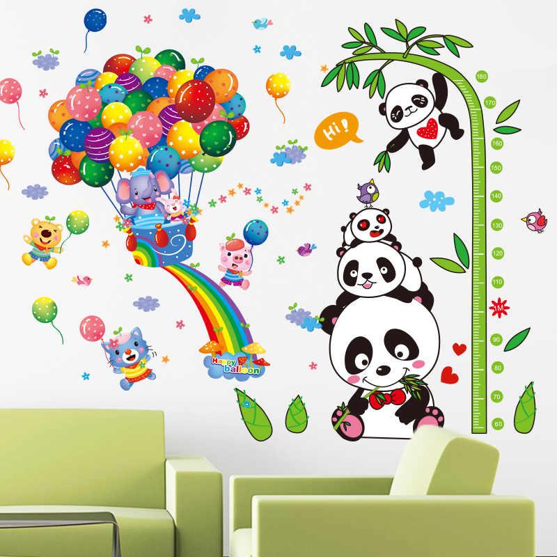 """[SHIJUEHEZI] панды слон животные наклейки на стену воздушные шары """"сделай сам"""" Бамбук высота настенные наклейки детская комната украшение для детской спальни"""