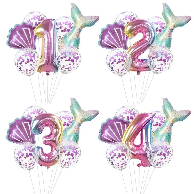 7 шт./лот, вечерние воздушные шары русалки, 32 дюйма, фольга с цифрами, Детские вечерние шары на день рождения, украшения для детского душа, гелиевые глобусы|Воздушные шары и аксессуары|   | АлиЭкспресс - Товары для детей: бестселлеры
