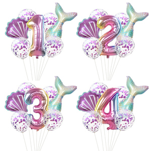 7pcs/lot Mermaid Party Balloons 32inch Number Foil Balloon Kids Birthday Party Decorations Baby Shower Decor Helium Globos
