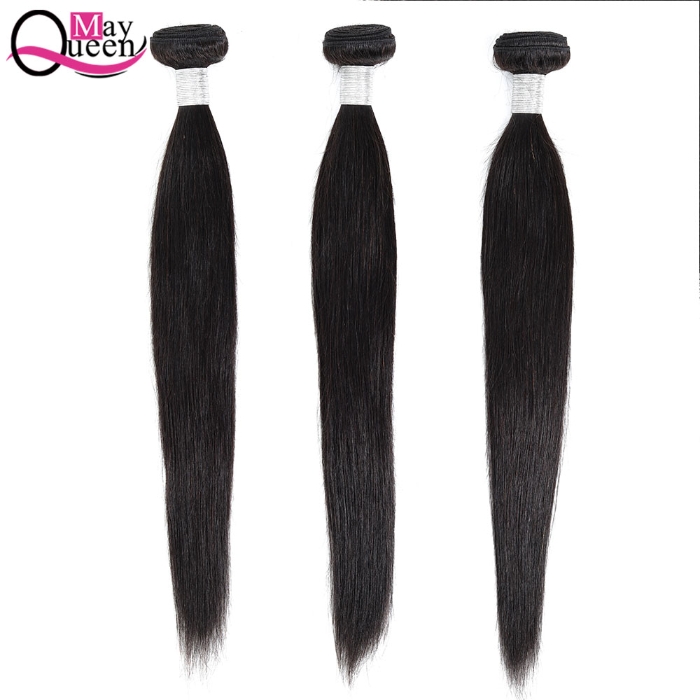 May Queen Brazilian Straight Hair Bundles 100% Human Hair Weave Natural Black Remy Hair Extension 8-28 Inch