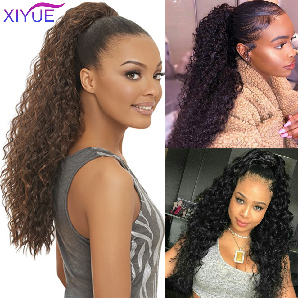 Long Afro Curly Drawstring Ponytail Synthetic Hairpiece Pony Tail Hair Piece For Girl Fake Tail Clip In Hair Extension Pieces