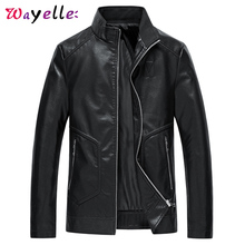 2019 Winter Men PU Leather Jacket Casual Motorcycle  Coat For Solid Coats Jackets Plus Size 5XL