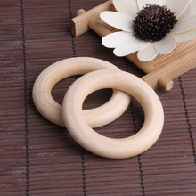 5pcs Crafts DIY Baby Teething Natural Wooden Rings Necklace Bracelet 55mm D7YD