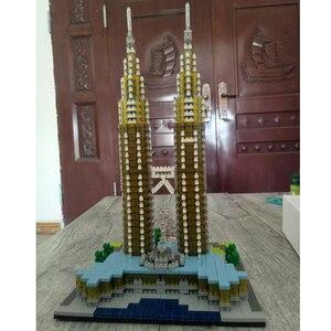 Image 4 - Construcción de la torre Petronas para niños, 057 YZ, arquitectura de fama mundial, modelo 3D, minibloques de diamante, juguete de construcción para niños, sin caja