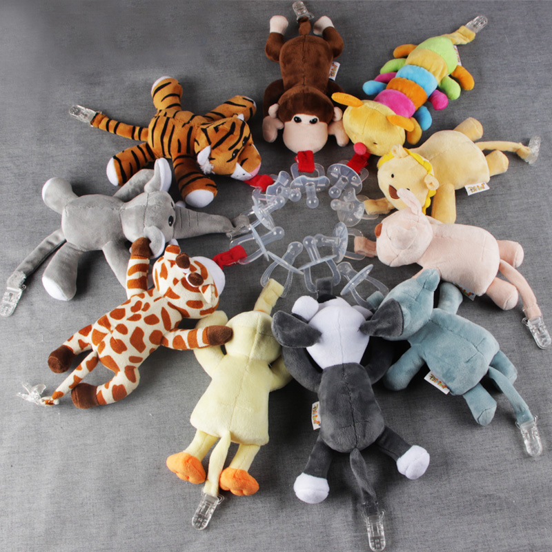 1Pc Cute Baby Cartoon Dummy Pacifier Chain Clips Newborn Plush Animal Toys Toddler Soother Nipples Holder (not Include Pacifier)