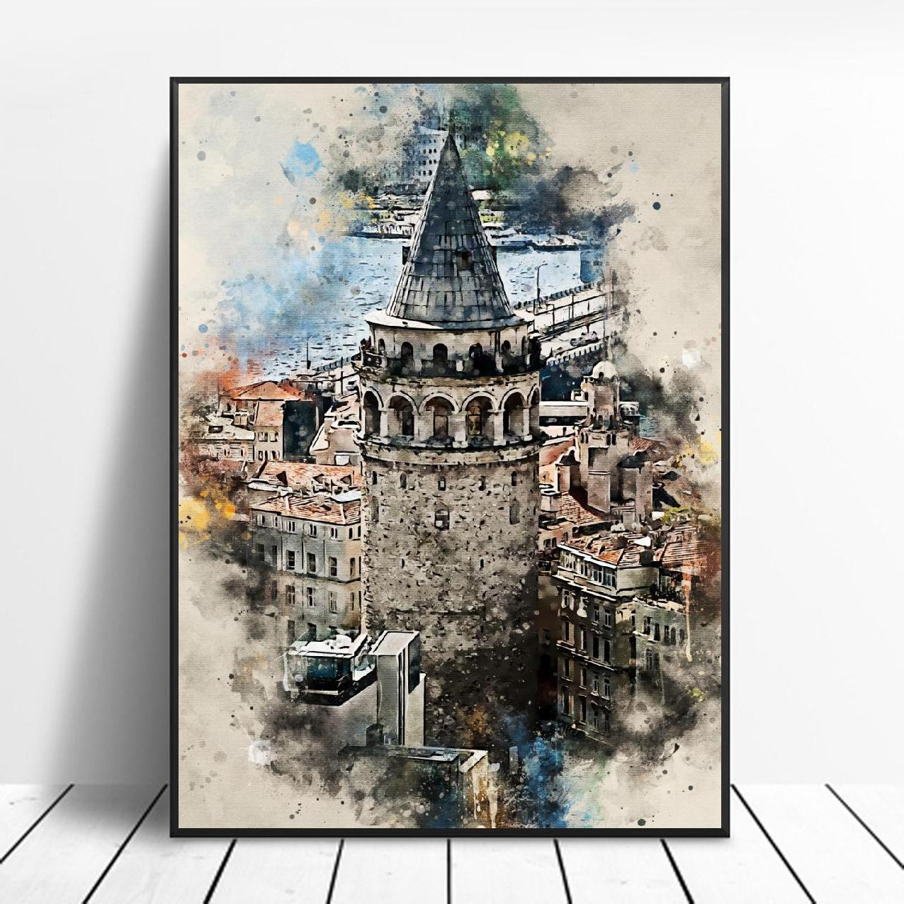 Istanbul in Watercolor Art Canvas Poster Home Decor Painting No Frame