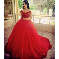 Elegant Red Tulle Quinceanera Dresses 2020 Lace Appliques Off the Shoulder Burgundy Long Prom Ball Gown Vestidos de 15 anos