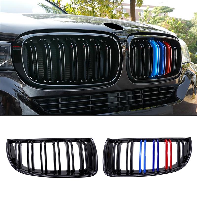 Pour BMW E90 E91 3 Series 2004 2005 2006 2007 brillant mat noir M couleur 2 ligne calandre Grille Double latte 1 paire