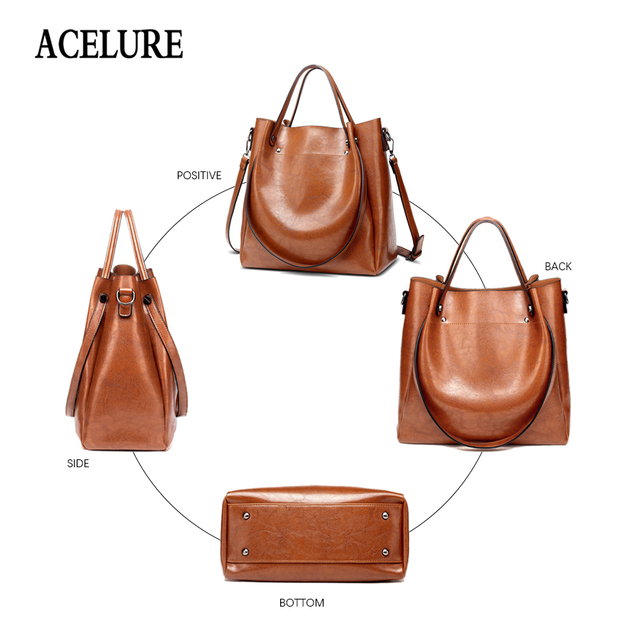 ACELURE Casual Large Capacity Women Tote Shoulder Bag PU Leather Ladies Bucket Handbag Messenger Bag Soft Shopping Crossbody Bag 3