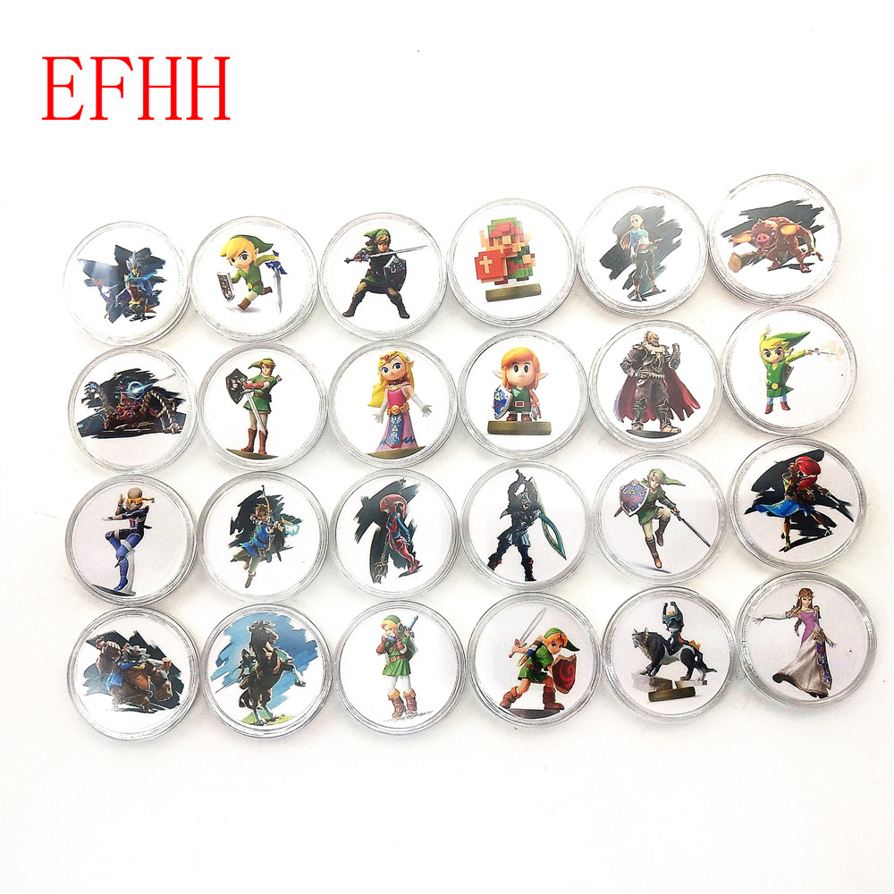 24pcs NFC PVC Tag Coin Card 25mm Safe ABS NTAG215 For Amiibo Game LEGEND BREATH OF THE WILD WOLF LINK For Toy Switch WII U