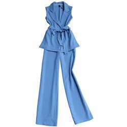 Traje de moda para mujer principios de otoño nuevo traje casual de alta calidad chaleco sin mangas + Pantalones de pierna ancha de cintura alta dos de